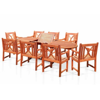 """Casimir 91"""" Outdoor Oval Extension Table and Armchair 9-Piece Dining Set"""