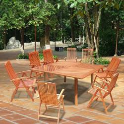 "Casimir 60"" Square Dining Table Set with 8 Folding Arm Chairs"
