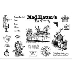 Mad Hatter's Tea Party Rubber Stamp Set