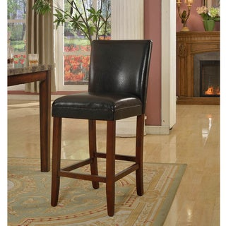 29-inch Luxury Black Faux Leather Barstool