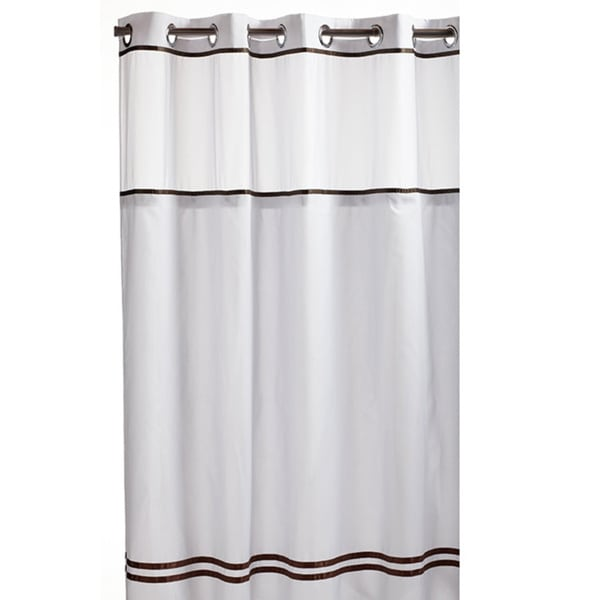 Hookless White/ Brown Fabric Shower Curtain - Overstock Shopping ...