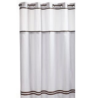 Hookless White/ Brown Fabric Shower Curtain