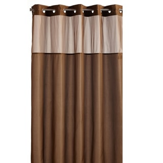 Hookless Brown Fabric Shower Curtain