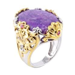 Michael Valitutti Two-tone Sugilite, Tourmaline and Sapphire Ring