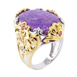 Michael Valitutti Two-tone Sugilite, Tourmaline and Sapphire Ring