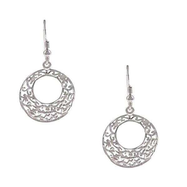 La Preciosa Sterling Silver Round Diamond-cut Filigree Earrings 8334150