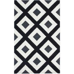 nuLOOM Handmade Black Diamond New Zealand Wool Rug (7'6 x 9'6)