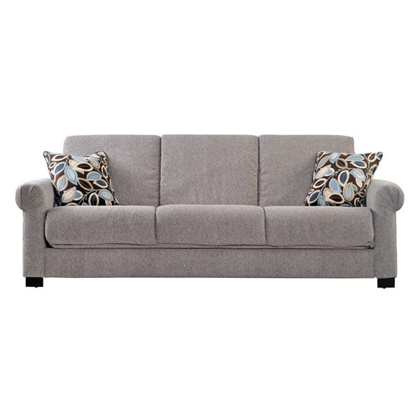 Portfolio Convert-a-Couch Sand Gray Chenille Rolled Arm Futon Sofa Sleeper