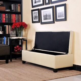 Portfolio Blane Sand Stripe Bench Storage Ottoman