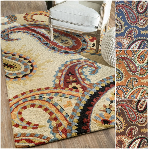 NuLOOM Handmade Paisley Wool Area Rug 76 X 96