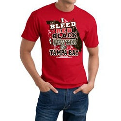 Tampa Bay 'I Bleed Red, Black & Pewter' Crewneck Cotton Tee