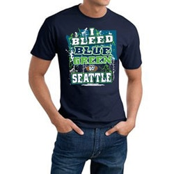 Seattle 'I Bleed Blue & Green' Cotton Tee