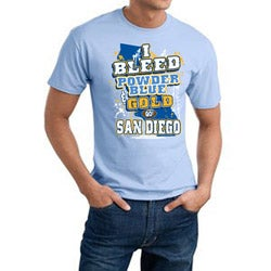 San Diego 'I Bleed Powder Blue & Gold' Cotton Tee