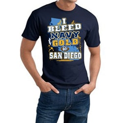 San Diego 'I Bleed Navy & Gold' Cotton Tee