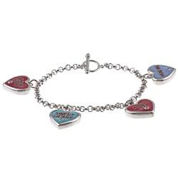 La Preciosa Silvertone Multi-colored Enamel and Cubic Zirconia Bracelet