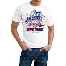 New York 'I Bleed Blue, White & Red' White Cotton Tee