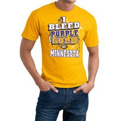 Minnesota Football 'I Bleed Purple & Gold' Yellow Cotton Tee