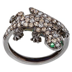 La Preciosa Silver White, Champagne and Green Cubic Zirconia Newt Ring