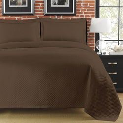 Diamante Matelasse Brown Twin-size Coverlet