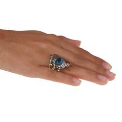 La Preciosa Sterling Silver Blue and White Cubic Zirconia Stingray Ring