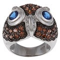 La Preciosa Sterling Silver Brown and Blue Cubic Zirconia Owl Ring