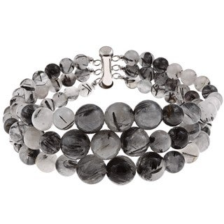 Pearlz Ocean Sterling Silver Black Rutilated Quartz Journey Bracelet