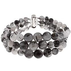 Pearlz Ocean Sterling Silver Black Rutilated Quartz Journey Bracelet