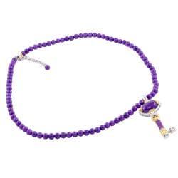 Michael Valitutti Two-tone Purple Jade Key Necklace