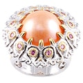 Michael Valitutti Two-tone Peach Mabe Pearl and Pink Sapphire Ring (14-15 mm)