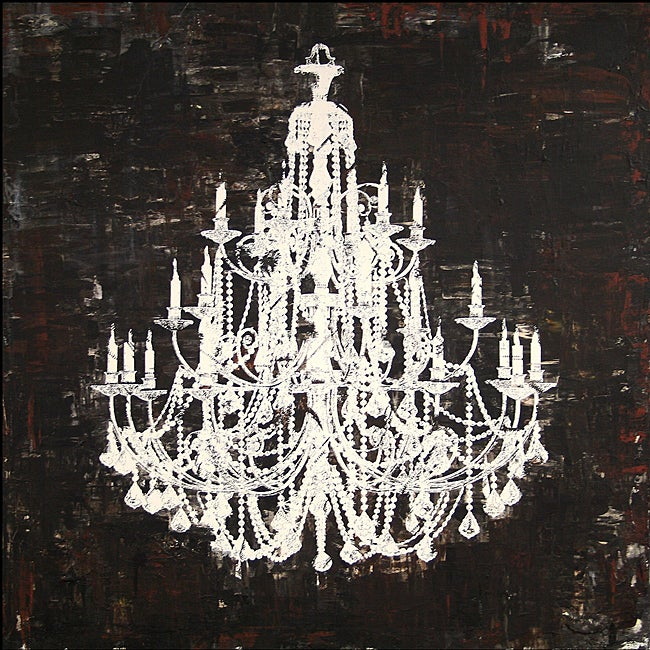 Chandelier White And Black Ii Canvas Art 13827190