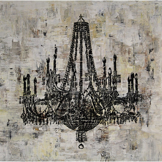 'Chandelier Black and White I' Canvas Art
