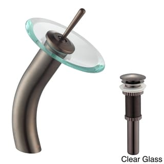 Kraus Single Lever Vessel Glass Waterfall Oil Rubbed Bronze Faucet with Glass Disk and Matching Pop Up Drain