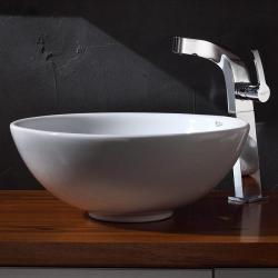 Kraus Bathroom Combo Set White Round Ceramic Sink/Typhon Faucet