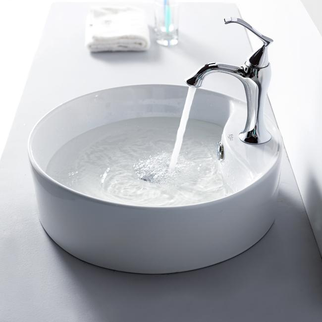 Kraus Bathroom White Round Ceramic Sink and Ventus Basin Faucet Combo ...