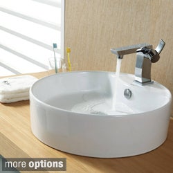 Kraus Bathroom White Round Ceramic Sink and Sonus Basin Faucet Combo Set