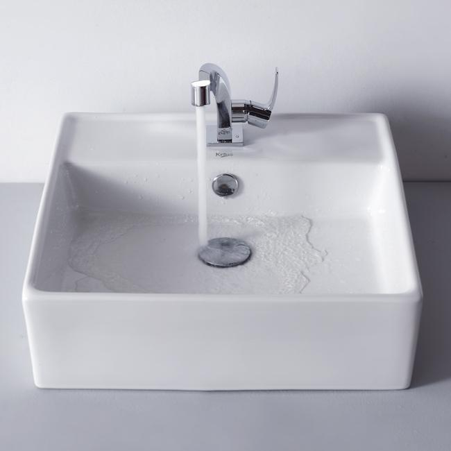 Kraus Bathroom White Square Ceramic Sink and Typhon Basin Faucet Combo Set