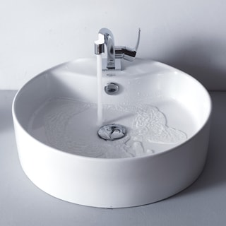 Kraus Bathroom White Round Ceramic Sink and Typhon Basin Faucet Combo Set