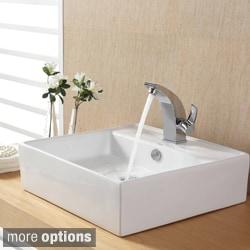 Kraus Bathroom Combo Set White Square Ceramic Sink/Bas-inch Faucet