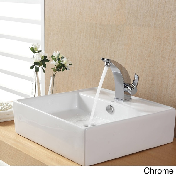 Kraus Bathroom White Square Ceramic Sink and Basin Faucet Combo Set