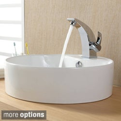 Kraus Bathroom White Round Ceramic Sink and Illusio Basin Faucet Combo Set