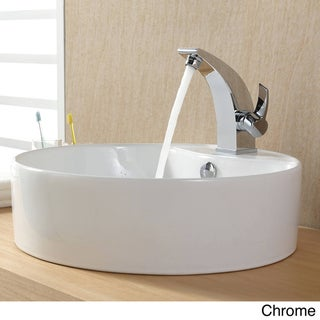 Kraus Bathroom Combo Set White Round Ceramic Sink/Illusio Bas-inch Faucet