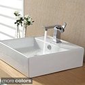 Kraus White Square Ceramic Sink and Sonus Basin Faucet