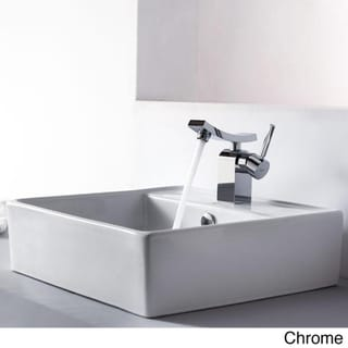 Kraus Bathroom Combo Set White Square Ceramic Sink/Unicus Bas-inch Faucet