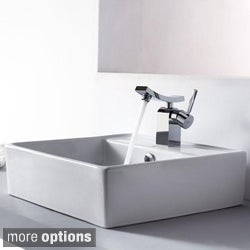 Kraus Bathroom White Square Ceramic Sink and Unicus Basin Faucet Combo Set