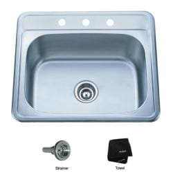 Kraus 25 inch Topmount Single Bowl 18-gauge Stainless Steel Kitchen Sink