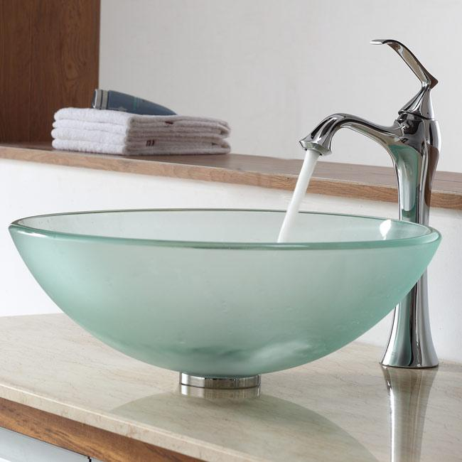 Kraus Bathroom Combo Set Frosted Glass Vessel Sink and Ventus Faucet