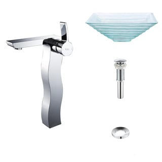 Kraus Clear Alexandrite Glass Vessel Sink and Sonus Faucet