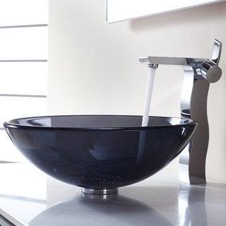 Kraus Bathroom Combo Set Clear Black Glass Vessel Sink/Sonus Faucet