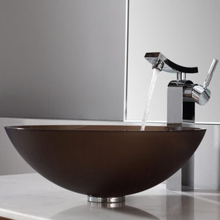 Kraus Frosted Brown Glass Vessel Sink and Unicus Faucet