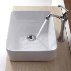 Kraus Bathroom Combo Set White Rectangular Ceramic Sink/Ventus Faucet